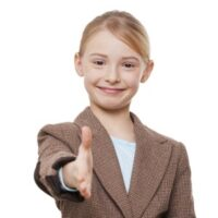 Tween girl acting like a lawyer