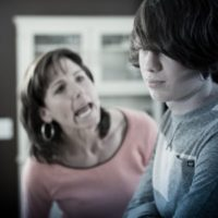 Mom losing temper and yelling at son