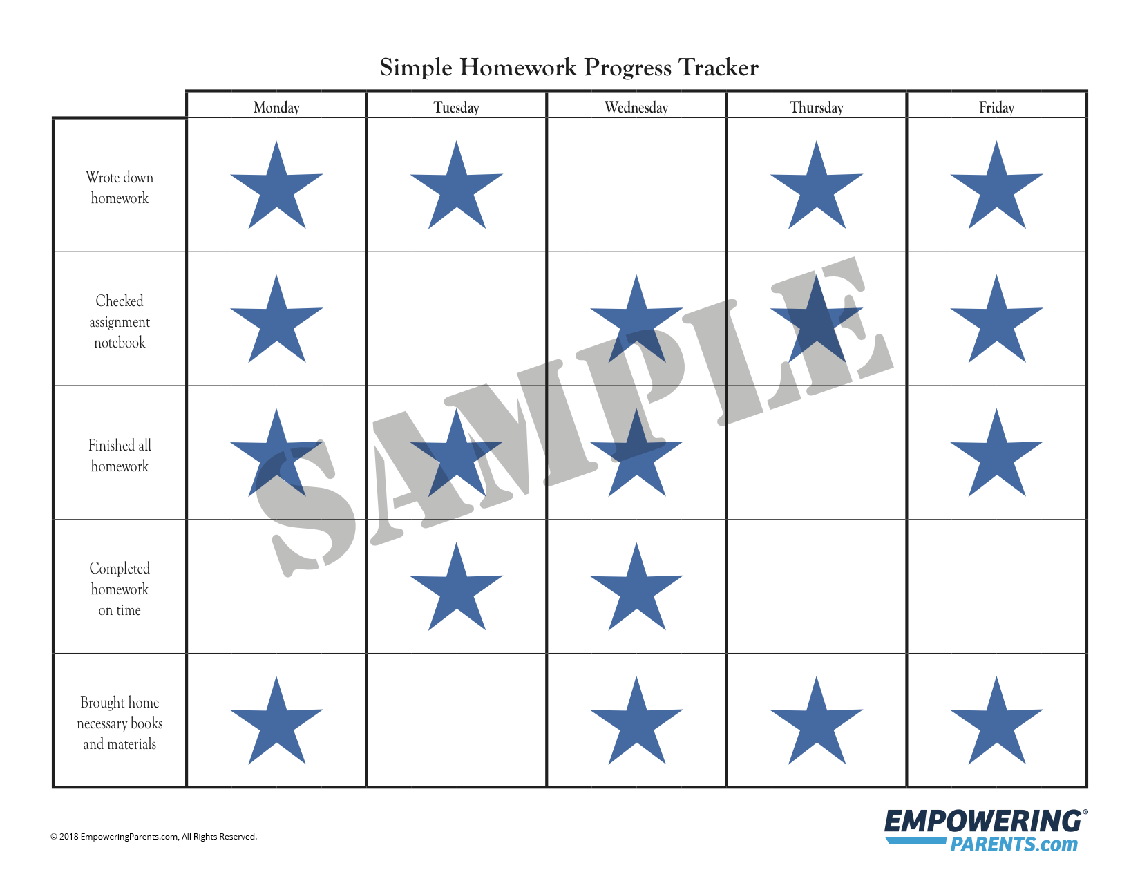 graphic regarding Printable Homework Chart named Absolutely free Printable Straightforward Research Chart Empowering Dad and mom